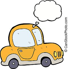 gedachte, auto, bel, spotprent