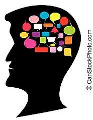 gedachte, ballons, hoofd, silhouette, menselijk