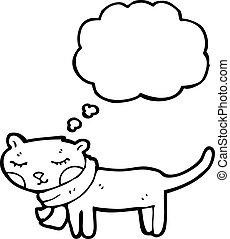 gedachte bel, spotprent, kat