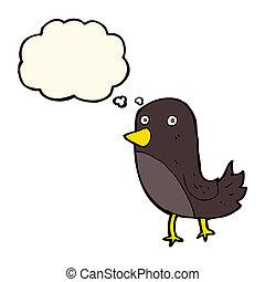 gedachte bel, spotprent, vogel