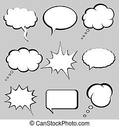 gedachte, bellen, toespraak