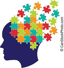 gedachte, brain., concept, oplossen