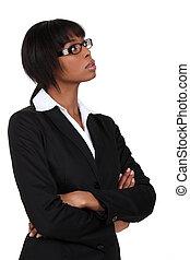 gedachte, businesswoman, diep