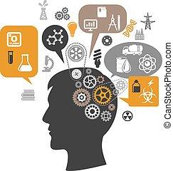 gedachte, hoofd, wetenschapper, bellen, toestellen