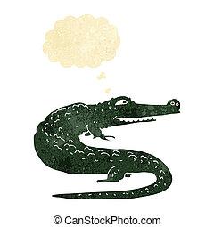 gedachte, krokodil, bel, spotprent