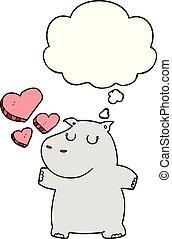 gedachte, nijlpaard, liefde, spotprent, bel