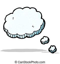 gedachte, spotprent, wolk