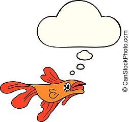 gedachte, visje, bel, spotprent, vecht