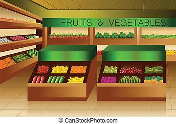 gedeelte, kruidenierswinkel, vruchten, groentes, store: