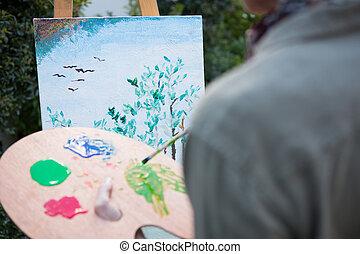 gedeelte, midden, schilderij, doek, vrouw