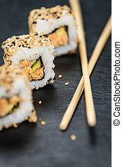 gedeelte, van, sushi