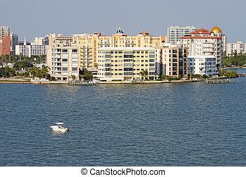 gedeeltelijk, sarasota, water, skyline, bekeken, florida