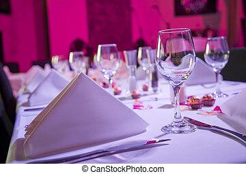 gedekte tafel, op, ontvangst, trouwfeest