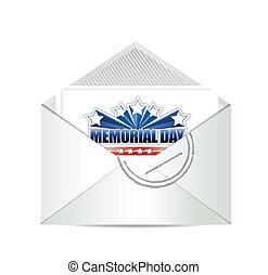 gedenkteken, kar, ontwerp, illustratie, post, dag