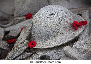gedenkteken, oorlog, klaprozen