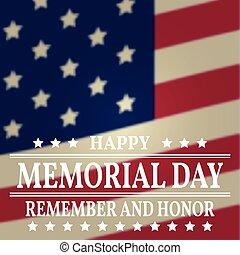 gedenkteken, poster., zich herinneren, banner., flag., bovenzijde, eer, amerikaan, vector, achtergrond, vaderlandslievend, template., vrolijke , dag, illustration.