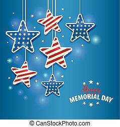 gedenkteken, ster, nationale vlag, illustratie, kleuren, dag