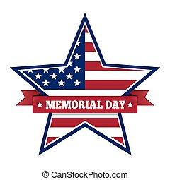 gedenkteken, ster, nationale vlag, ons, kleuren, dag