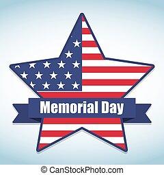 gedenkteken, ster, usa, nationale, illustratie, vlag, vector, colors., dag