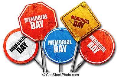 gedenkteken, verzameling, meldingsbord, dag, straat, vertolking, ruige , 3d