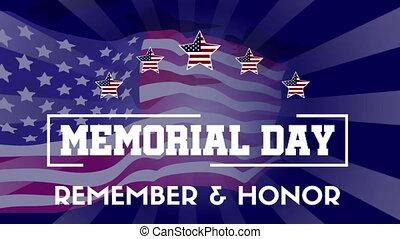 gedenkteken, verzameling, vlag, animation achtergrond, dag, vrolijke