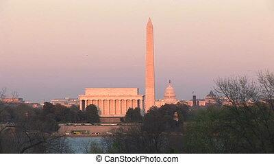 gedenkteken, &, v.s., washington capitool, lincoln monument