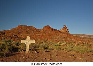 gedenkteken, woestijn, kruis