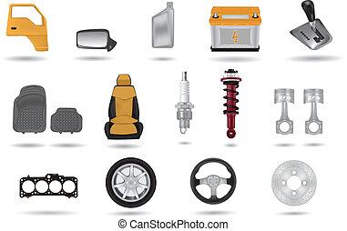 gedetailleerd, auto, illustraties, onderdelen
