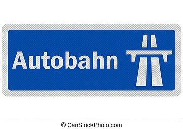 gedetailleerd, 'autobahn', meldingsbord, foto, vrijstaand,...