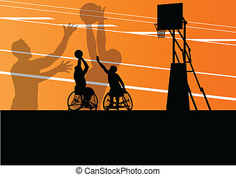 gedetailleerd, basketbal, silhouette, wheelchair, mannen, illustratie, invalide, spelers, concept, vector, achtergrond, actief, sportende