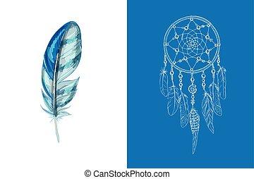 gedetailleerd, blauwe , decor, set, illustration., elements., getrokken, op, ethnische , vrijstaand, vector, hand, achtergrond., vanger, ontwerp, sierlijk, afsluiten, veer, droom, witte , gekleurde