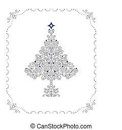 gedetailleerd, boompje, frame, ornament, zilver, kerstmis