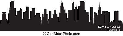 gedetailleerd, chicago, illinois, vector, skyline.,...