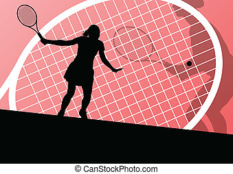 gedetailleerd, concept, tennis spelers, silhouettes, vector...
