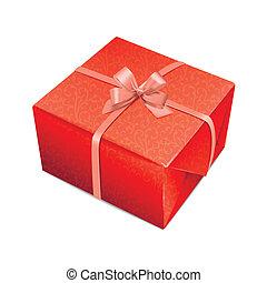 gedetailleerd, decoratief, rood, giftbox