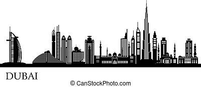gedetailleerd, dubai, skyline, stad, silhouette