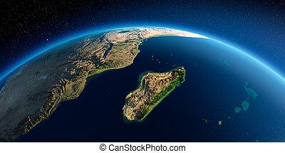 gedetailleerd, earth., madagascar, afrika