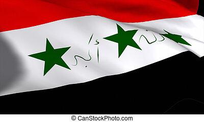 gedetailleerd, flag2, 3d, hoog, render, irak