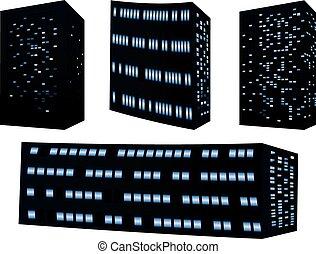 gedetailleerd, gebouwen, silhouettes
