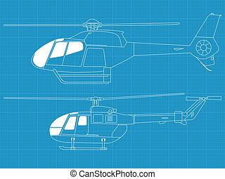 gedetailleerd, helikopters