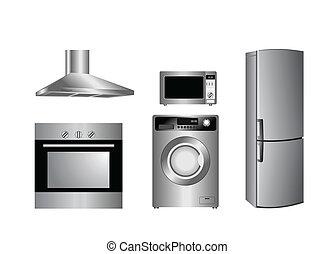 gedetailleerd, huishouden appliances, iconen