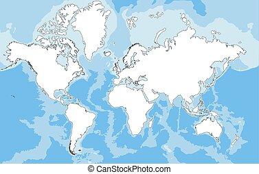 gedetailleerd, illustration., map., hoog, vector, wereld