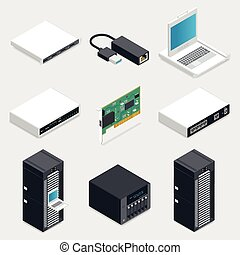 gedetailleerd, isometric, set, networking, iconen