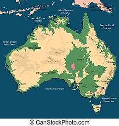 gedetailleerd, kaart, australia., lichamelijk