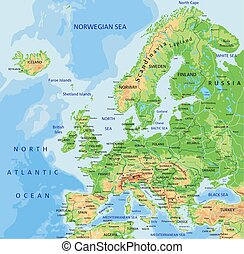 gedetailleerd, kaart, europa, hoog, labeling., lichamelijk