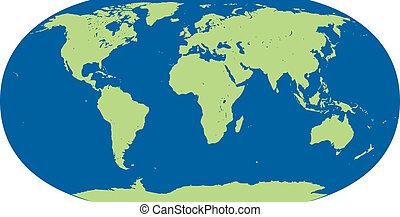 gedetailleerd, kaart, vector, wereld