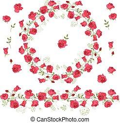 gedetailleerd, keukenkruiden, krans, rozen, witte , omtrek