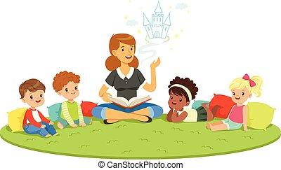 gedetailleerd, kleurrijke, kindergarden., scholieren, opvoeding, elementair, kinderen, teacher., illustraties, opleiding, spotprent