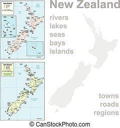 gedetailleerd, landkaarten, zealand., nieuw