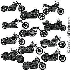 gedetailleerd, motorfiets, package-